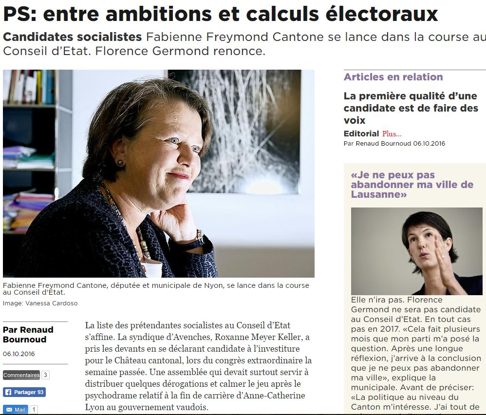 2016-10-06 24 Heures - Fabienne Freymond Cantone se lance dans la course au Conseil d'Etat