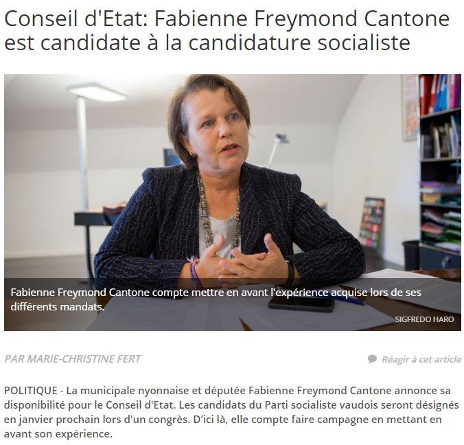 2016-10-06 La Côte - Fabienne Freymond Cantone est candidate à la candidature socialiste
