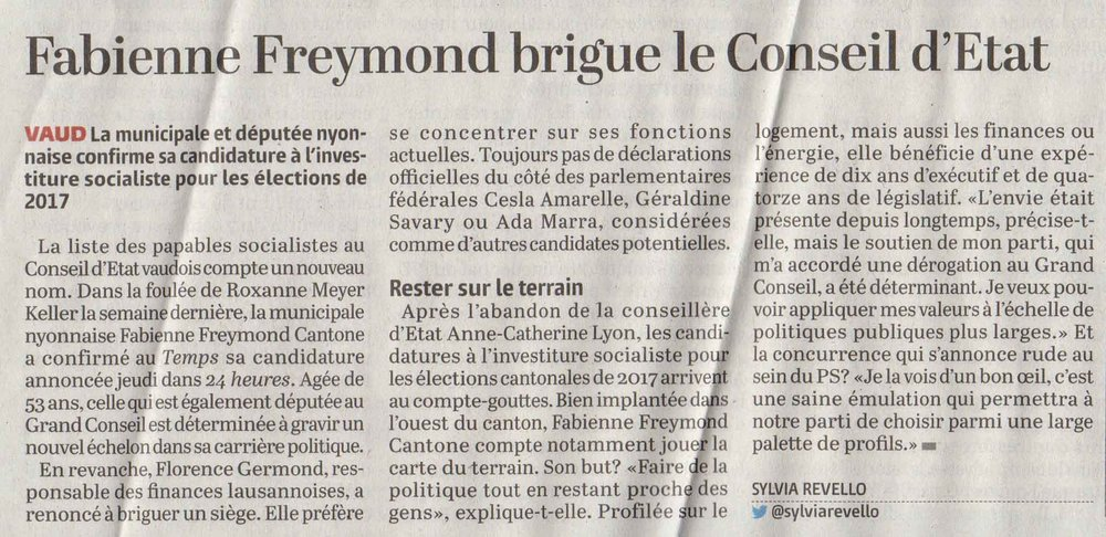 2016-10-07 Le Temps - Fabienne Freymond Cantone brigue le Conseil d'Etat
