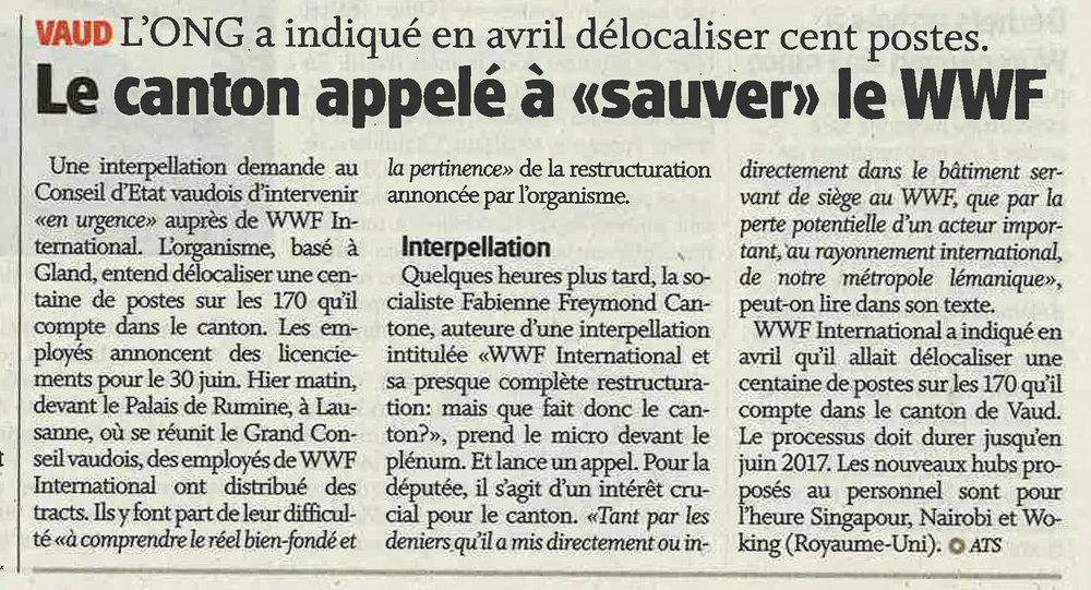 """2016-06-01 La Côte - Le canton appelé à """"sauver"""" le WWF"""