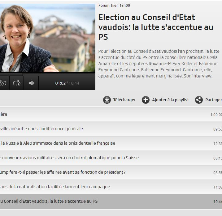 2016-11-22 Forum RTS : Election au Conseil d'Etat vaudois