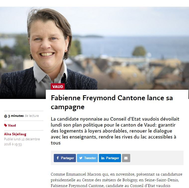 2016-12-12 Le Temps - Fabienne Freymond Cantone lance sa campagne