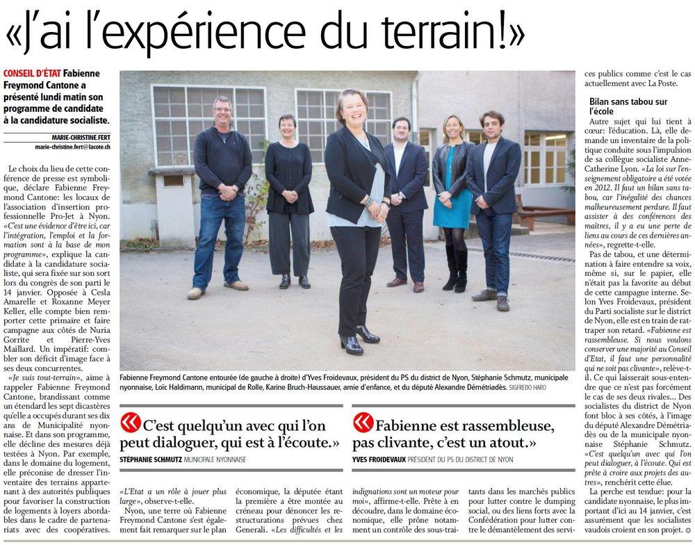2016-12-13 La Côte - Candidature de Fabienne Freymond Cantone