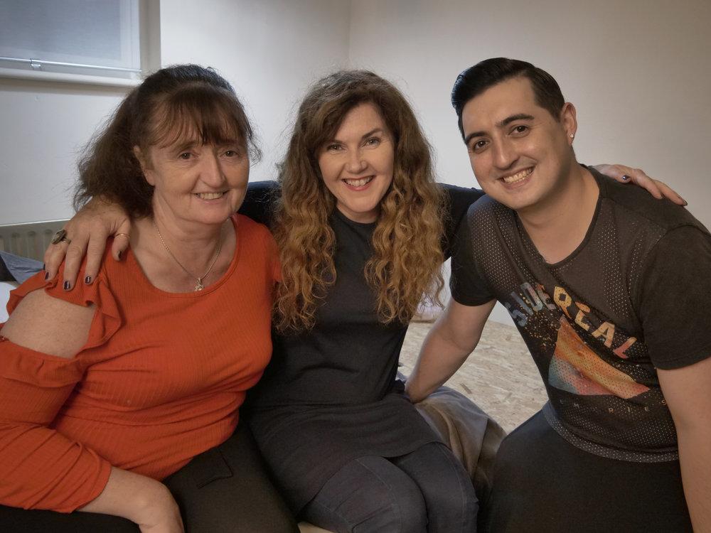 Carmel and Konrad with Home Rescue's Róisín Murphy