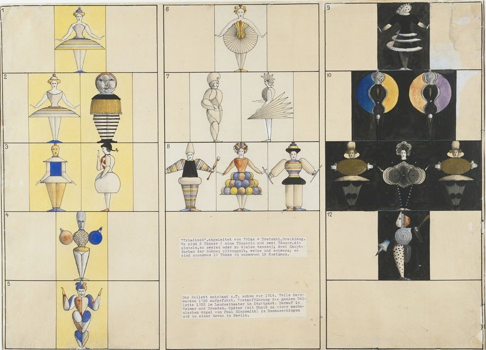 Sequence breakdown drawing of the  Triadic Ballet  by Oskar Schlemmer.