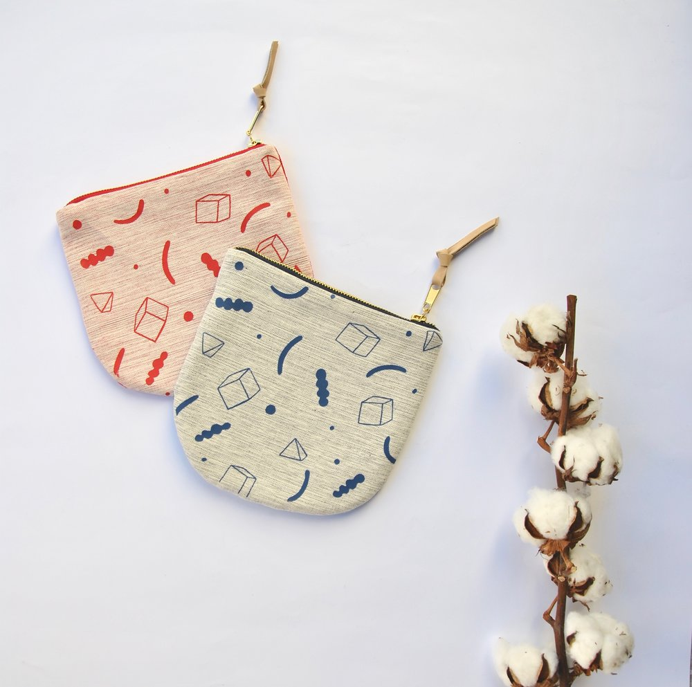 Abstract zipper pouches by illustrator Daphne Christoforou.