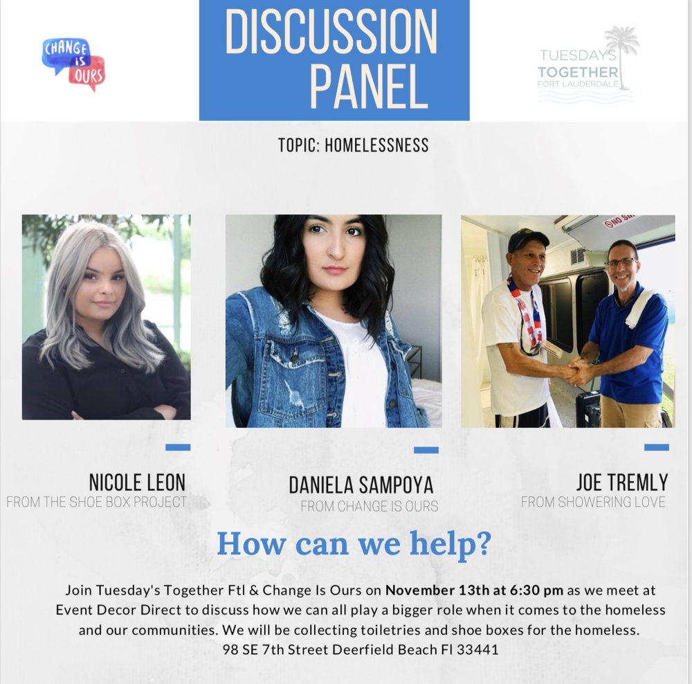 Upcoming Discussion Panel November 13th: - Location: Event Decor Direct98 SE 7th Street Deerfield Beach Fl 33441