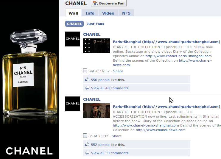 Chanel has a Facebook fan page