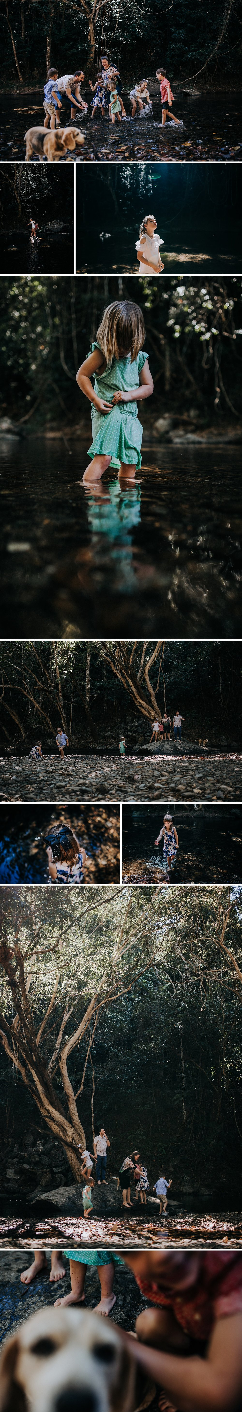 Cairns Family adventure lifestyle photographer creek crystal cascades kids playing