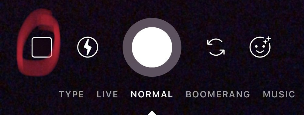 2. [SELECT] square camera roll icon at the bottom left hand corner of the screen.  3. [SELECT] the pull down menu at the top which could be something like 'Camera Roll' or 'Last 24 Hours'  4. [SELECT] the album you assigned your cover to—something like 'Instagram Covers'