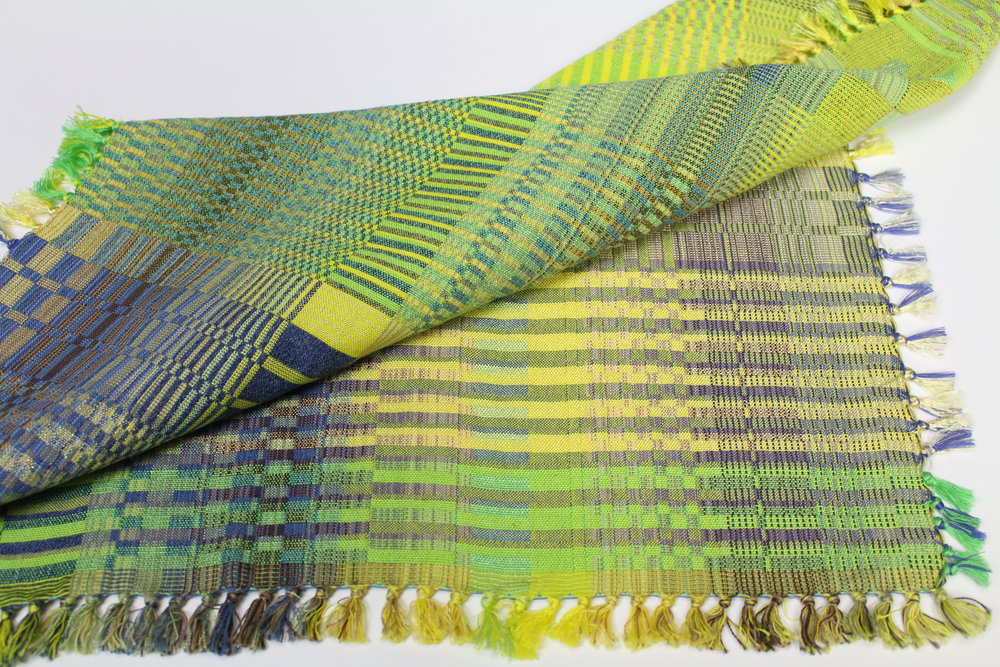 "doubleweave scarf  24"" square  cotton with mixed fibers  2018"