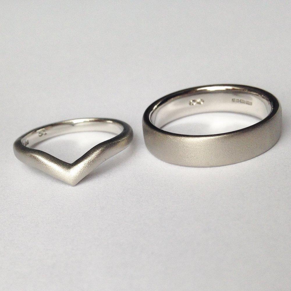 Platinum and Palladium matte Wedding bands