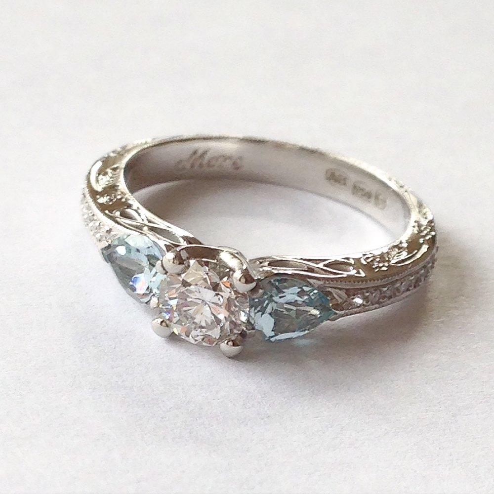Platinum Diamond and Aquamarine Antique style ring
