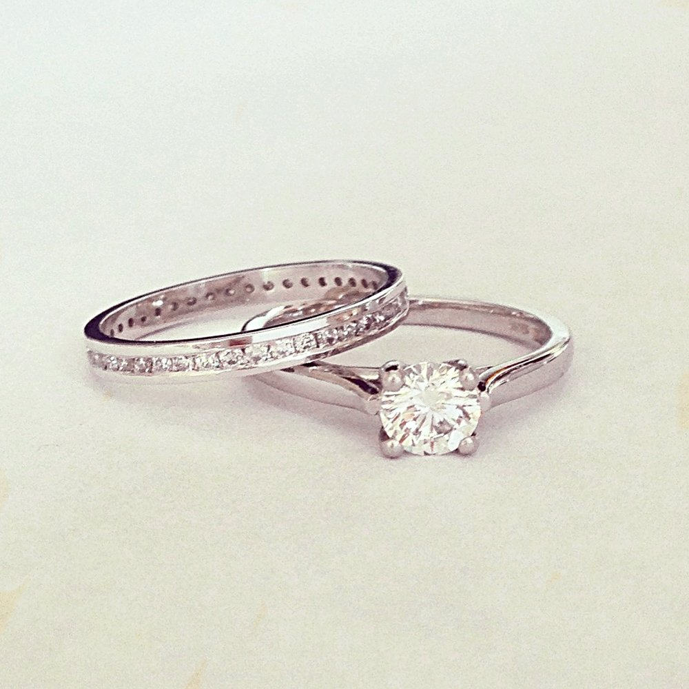 Platinum Brilliant Diamond ring and channel set band
