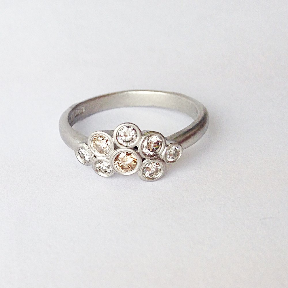Platinum Champagne Diamond matte ring