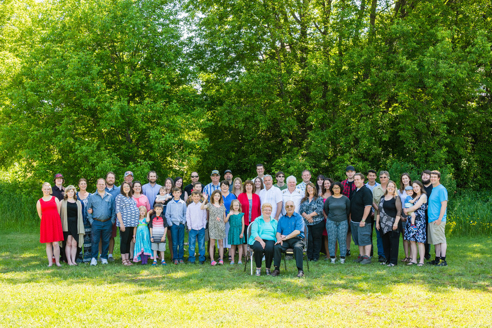 Large family group photo taken in Thunder Bay