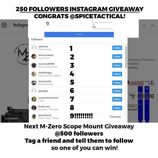 Congrats @spicetactical for winning our 250 follower #mzeroscopemount giveaway! Next #giveaway at 500 followers.  #followers #modzerohq #m0dsquad #modsquad #labordaydeal  #laborday  PREORDERS GO LIVE ON @INDIEGOGO SEPT 9. Enter email in bio link to save $125 on your preorder!  #guns #indiegogo #firearm #earlyaccess #scopes #shooting #rifles #pew #pewpewlife #pewpew