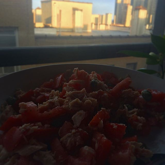 1 can tuna + one #jerseytomato + capers = #summertime #dinnerforone