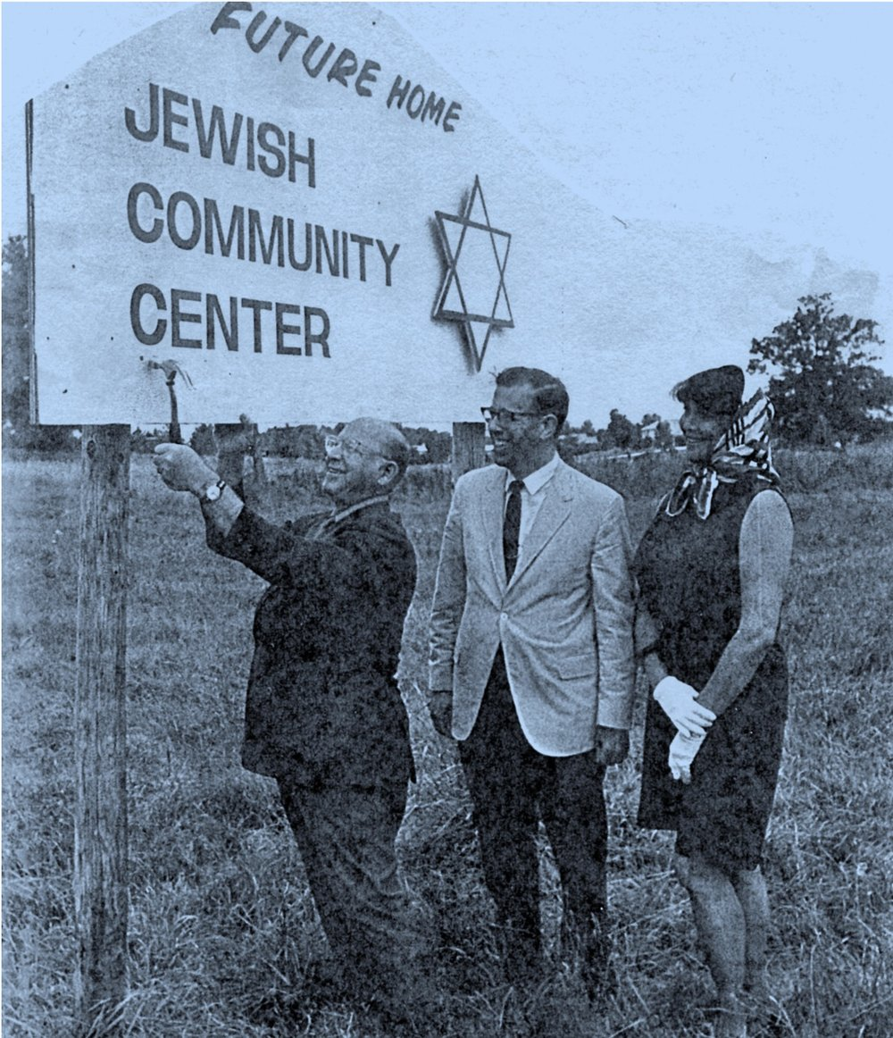 "Irving Fell (z""l), Joe Belth, and Barbara Portnoy on the site of what was to become Congregation Beth Shalom."