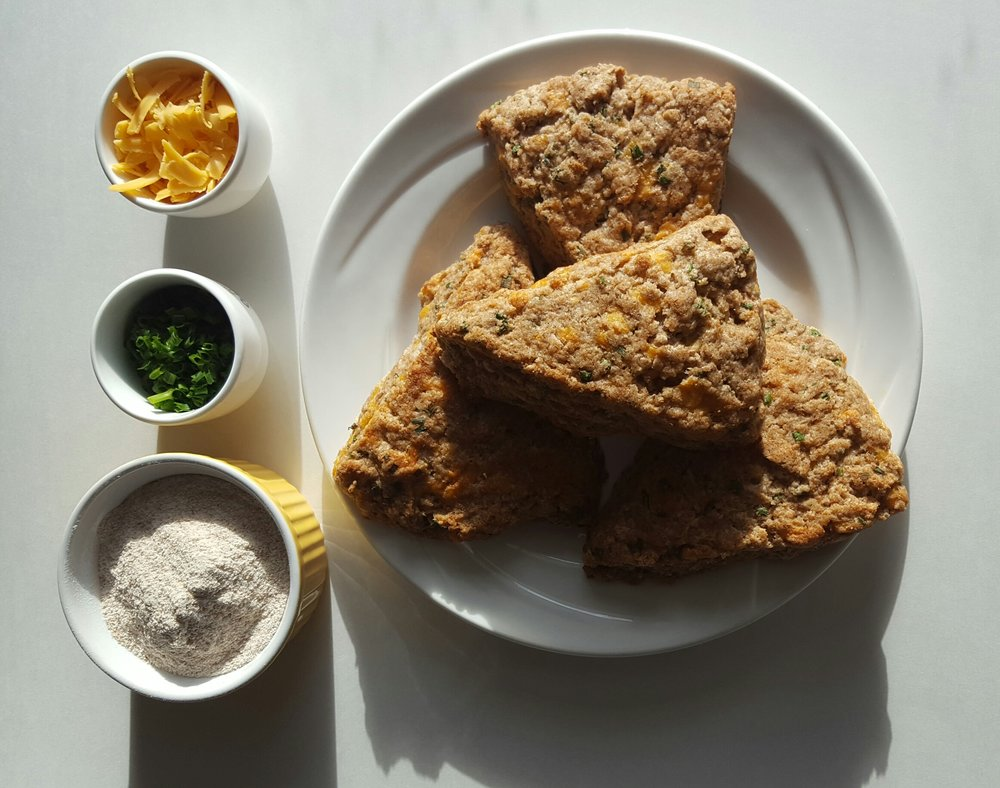 Cheddar Chive Scones; Photo & Bakery by Rachel Oliver