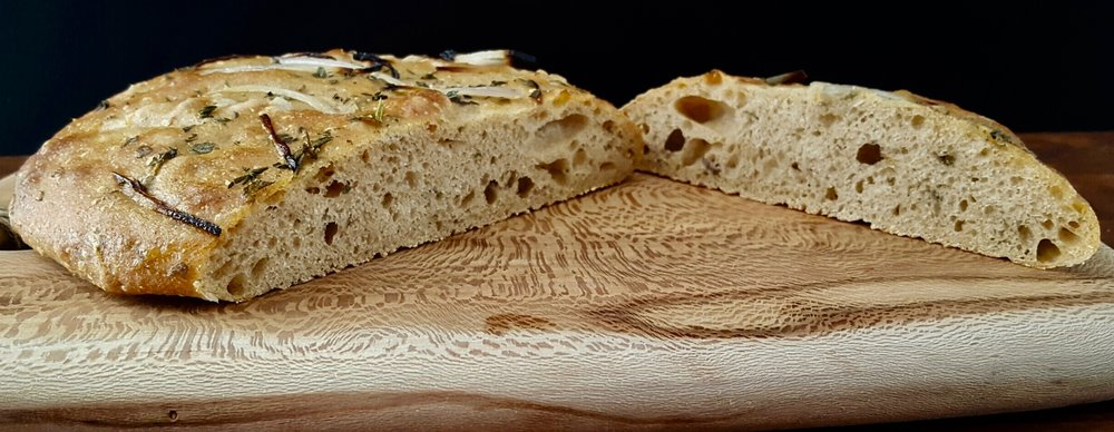 Herb Shallot Focaccia; Photo & Bakery courtesy of Rachel Oliver.