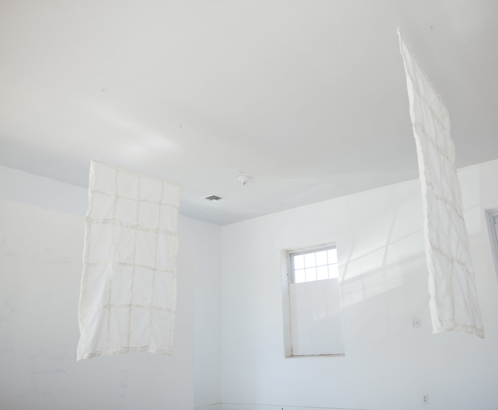 "Windows,  2016, muslin and thread, each window 42"" X 66"", installation view"