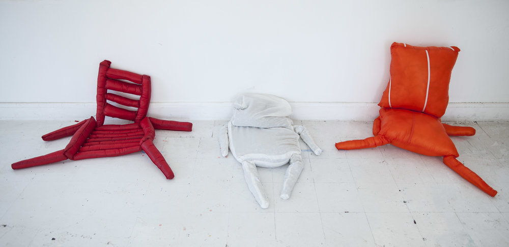"Three Chairs , 2016, mixed media, each chair 42"" X 22"" X 16"" (approx.), installation view"
