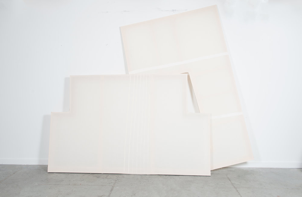A + B  (View 2), 2016, gesso, muslin, wood, 10' X 8' (approx. dimensions/variable)