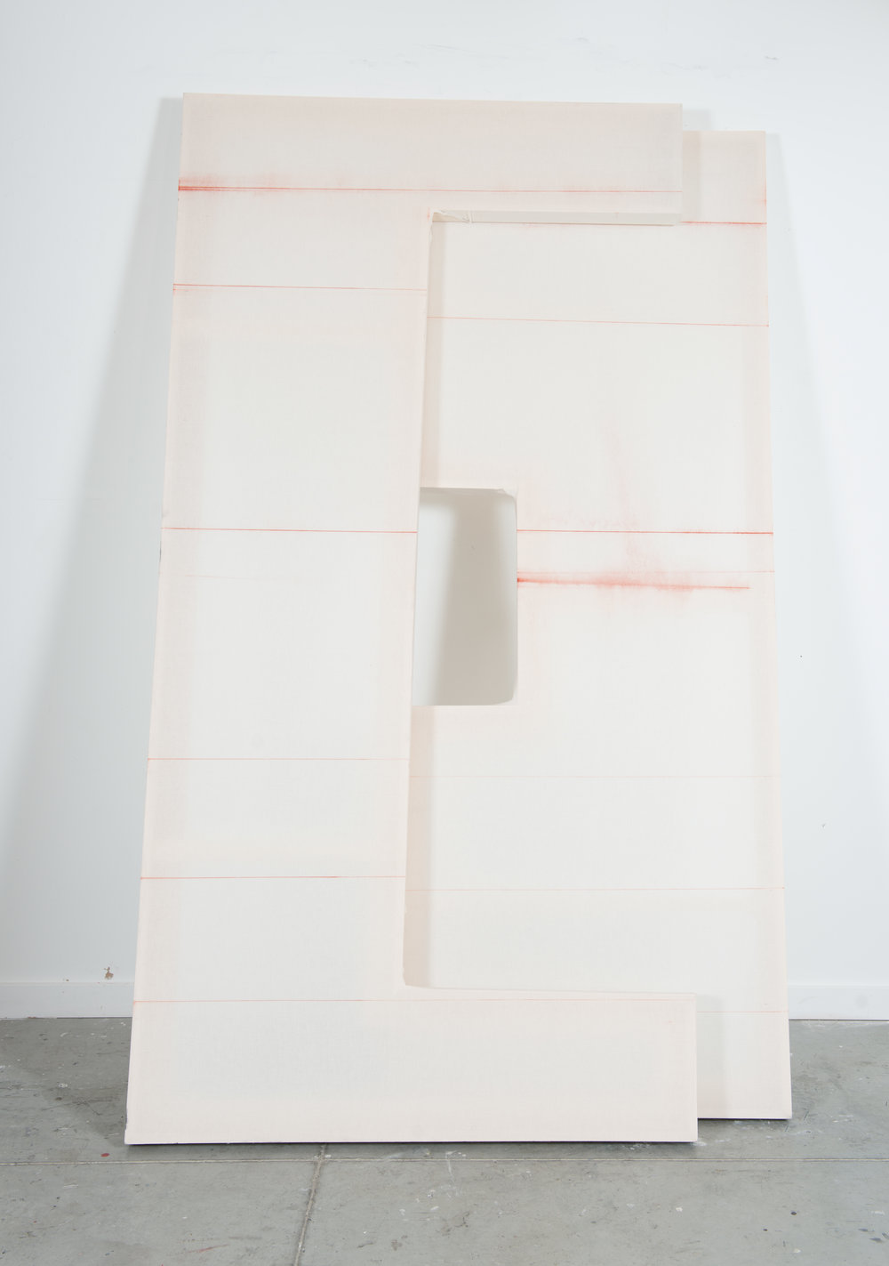 "That Moment When Things Are Not Absolutely Congealed, 2016, chalk, muslin, wood, 96"" X 60"" X 2.5"" (overall dimensions)"