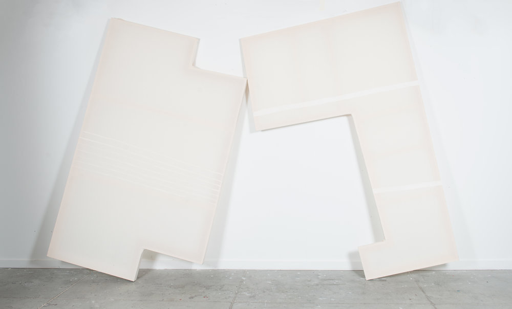 A + B  (View 1), 2016, gesso, muslin, wood, 10' X 8' (approx. dimensions/variable)