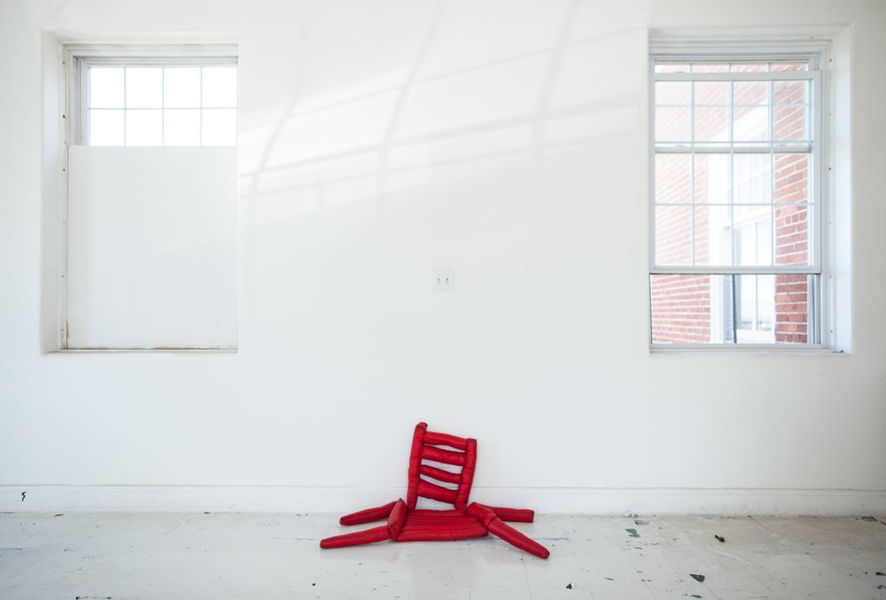 "Chair I (Alice's Eyes Are Red) , 2016, sailcloth, polyfil, thread, 42"" X 22"" X 16"" (approx.), installation view"
