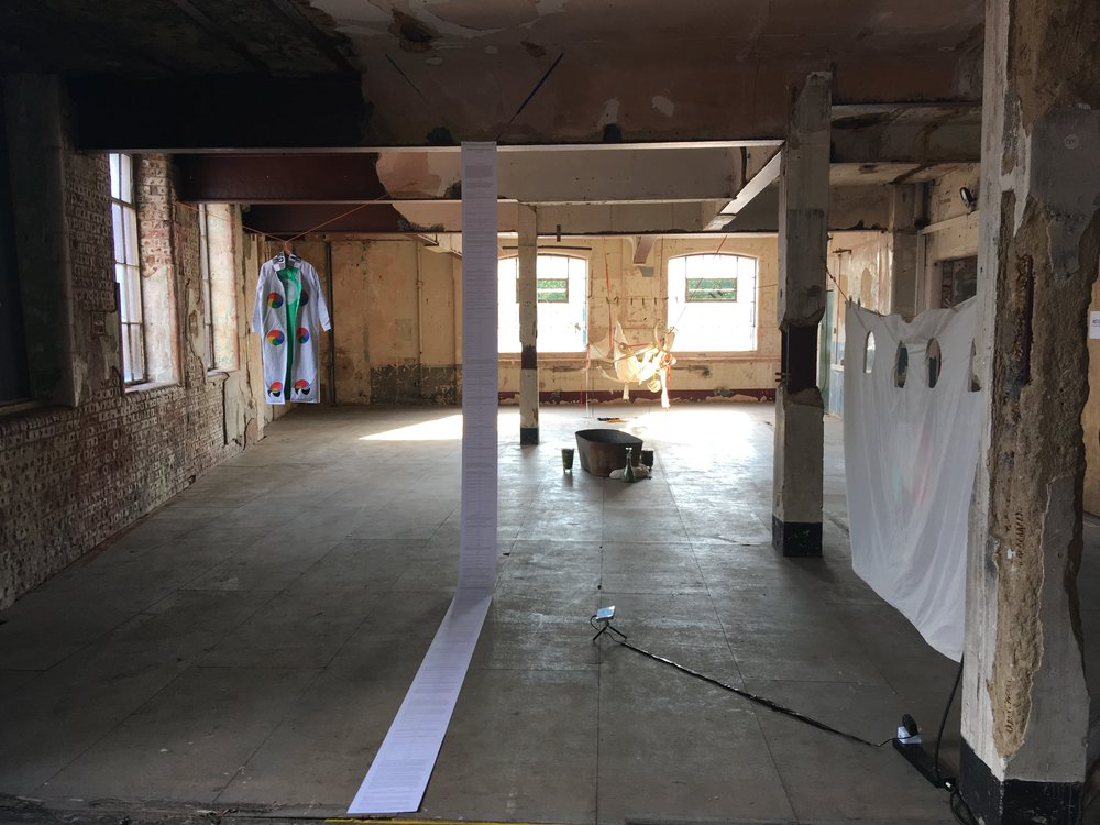 Installation View for performance of Emilia Galotti's Colouring-Book of Feelings at the Bargehouse at the Oxo Tower Wharf for Art Night 2018,   Play Written By Sophie Seita, Digital Projections By Simone Kearney, Video by Lanny Jordan Jackson, Costumes by Kat Addis and Ciara Philips, Music by r. Kharim, Performances by Sophie Seita, Jocelyn Spaar, Nisha Ramayya, Emma Attwood, Celine Lowenthal, Erin Robinsong, London, United Kingdom