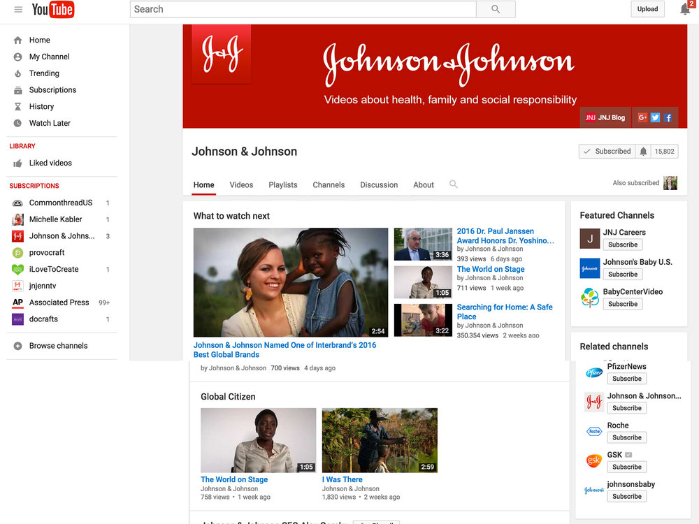 I worked with the Director of Video and Communications to optimize the JNJ video for YouTube search. I worked with the video content team on  the corporate communications editorial calendar to align messaging with the blog and other JNJ social channels on their corporate editorial themes and stories.