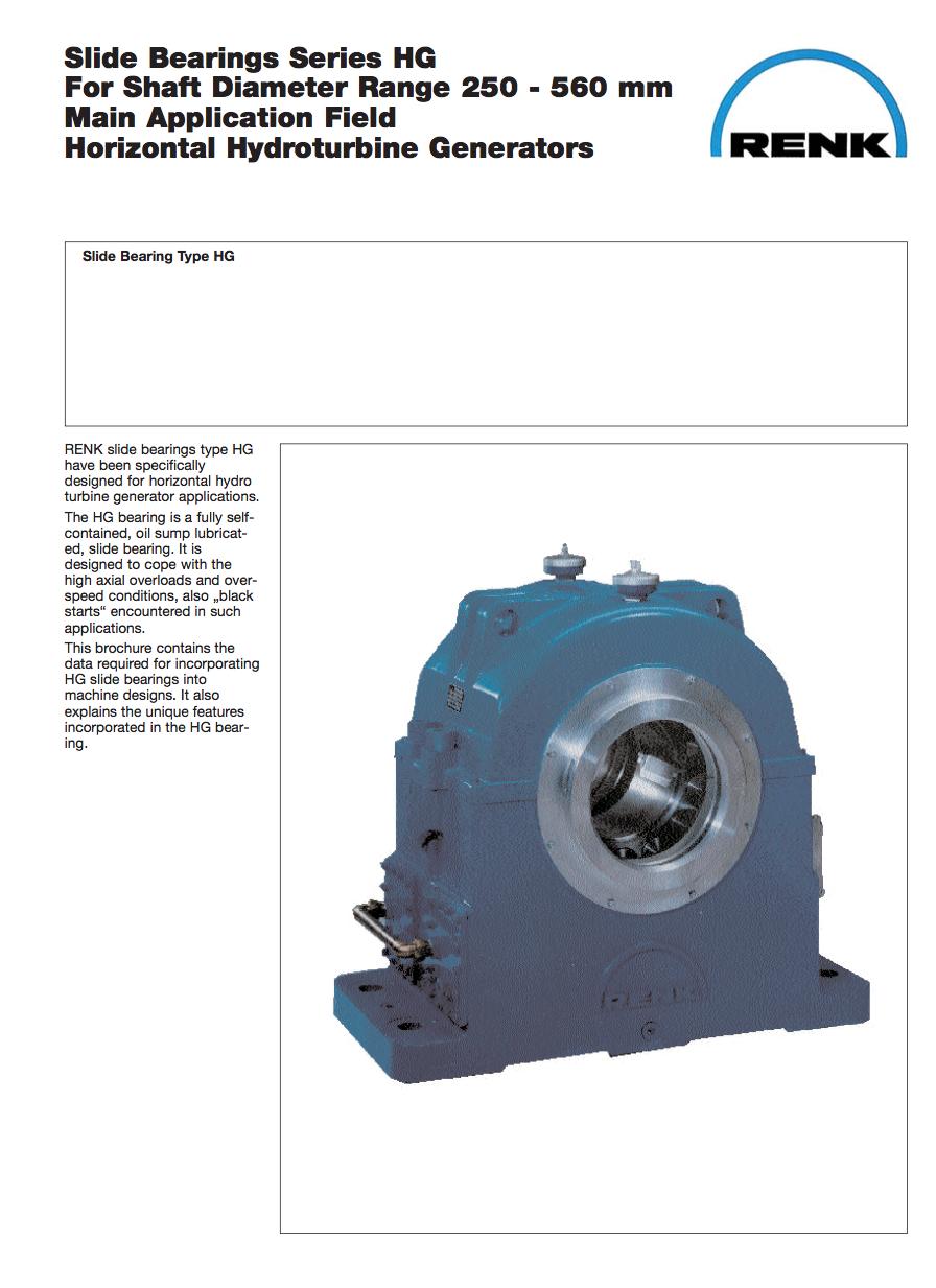 HG-Type Bearing -Hydro Shaft Diameters 250 - 260mm
