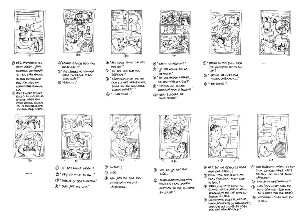 A snapshot of several thumbnails from Charlotte's storyboard.