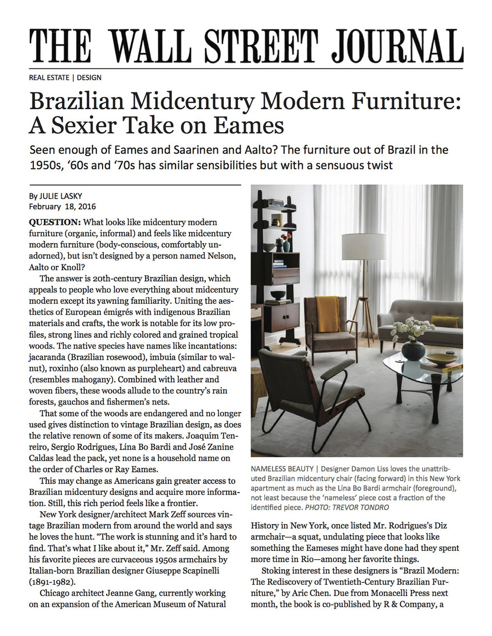 Interior Design Wall Street Journal Article Page 1