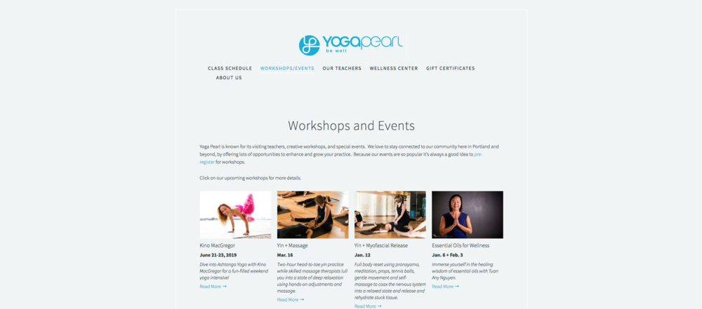 yogapearl website design portland oregon