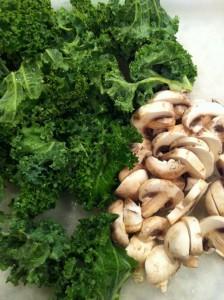 Fresh kale and mushrooms