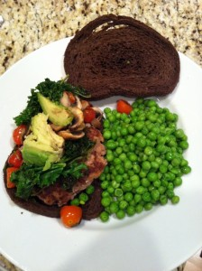 Turkey burger with kale and mushrooms
