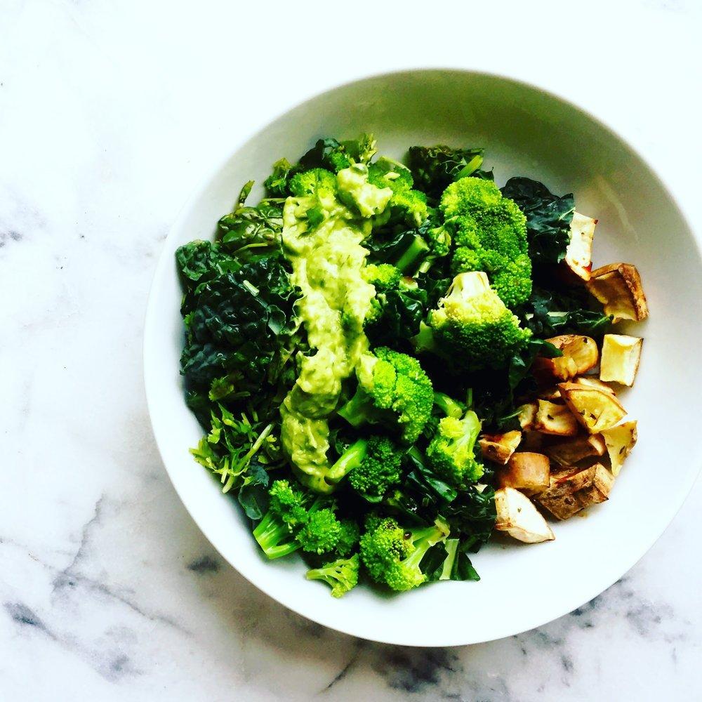 Triple Green Kale Salad