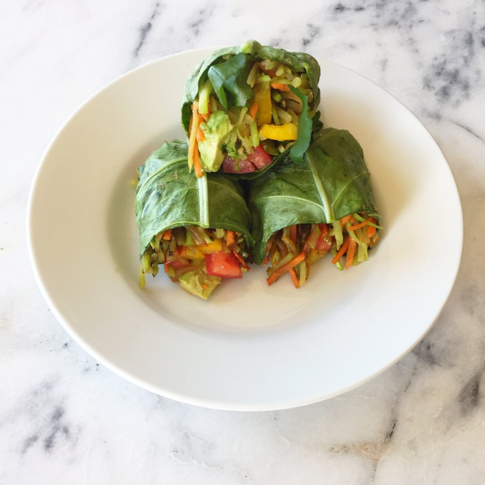 Broccoli Slaw Collard Wraps