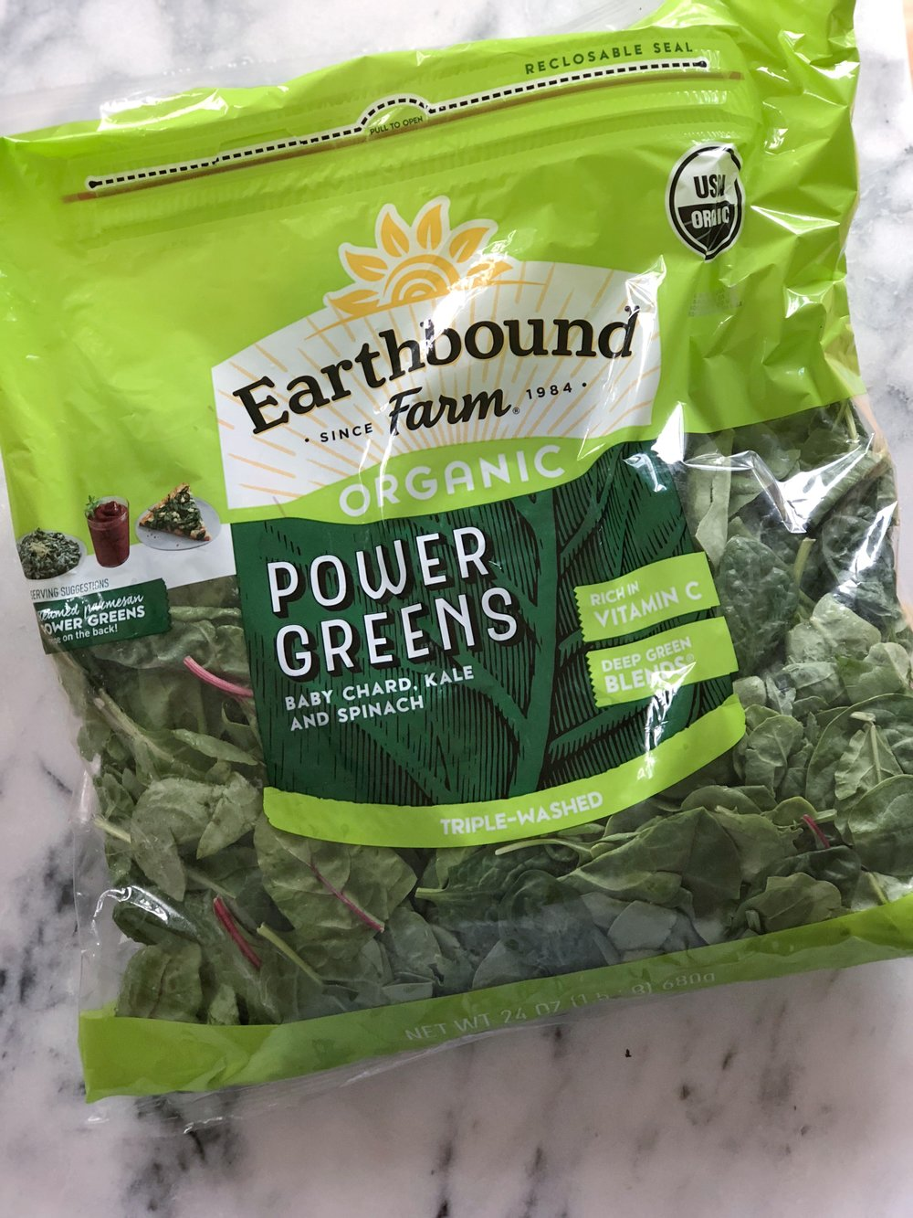 MIXED POWER GREENS BLEND  A great bag to keep on hand for everything. Contain spinach, baby chard, and kale. The kale is soft enough to work well in smoothies and juices. This can be used in a raw salad (I would chop it though), tossed into your stir-fry, or added to a soup at the end to just soften.
