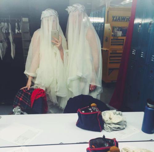 Milkmaids as brides during tech week.