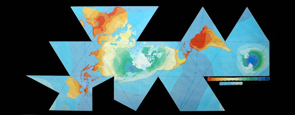 The  Dymaxion Map  is the only flat map of the entire surface of the Earth which reveals our planet as one island in one ocean, without any visually obvious distortion of the relative shapes and sizes of the land areas, and without splitting any continents.