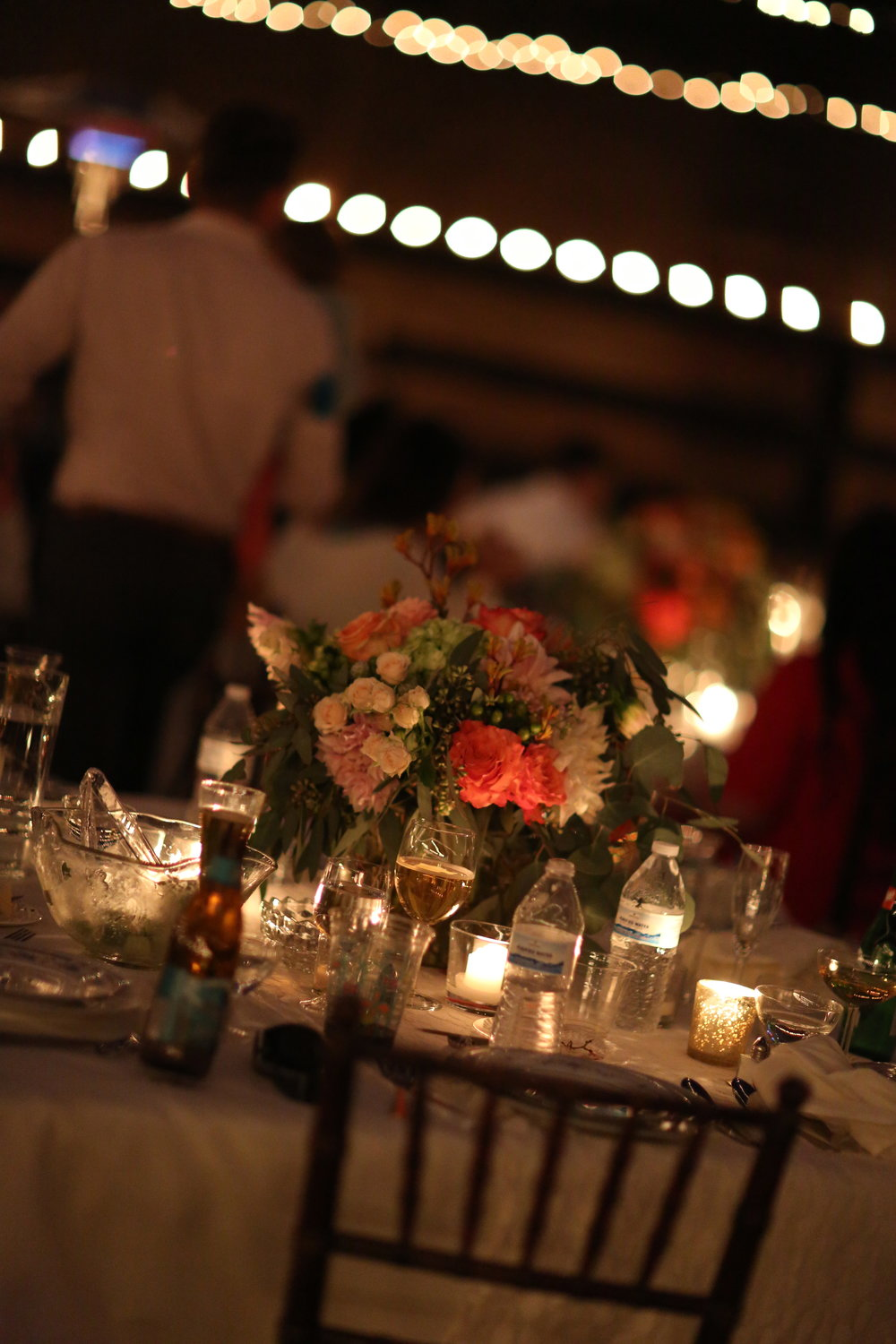 Wedding flowers and candlelight