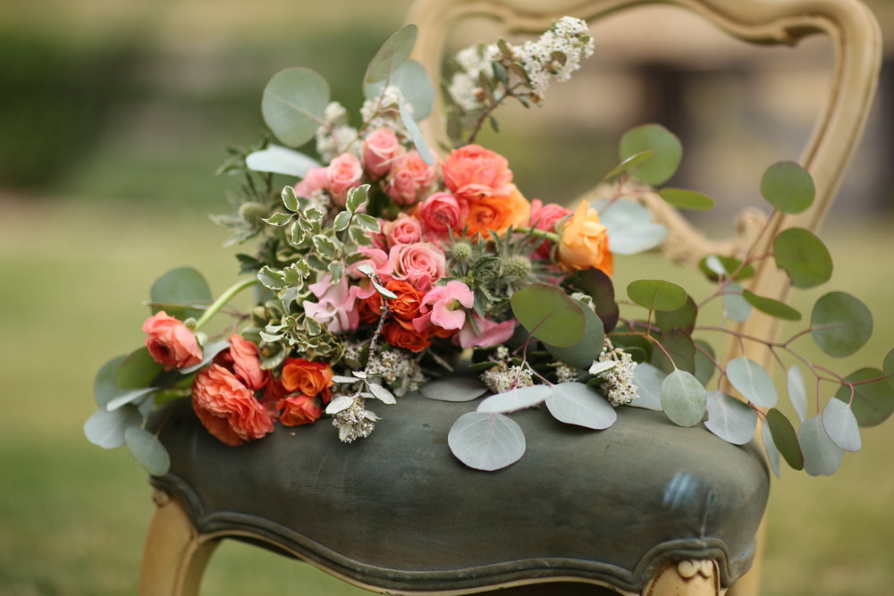 Bridal bouquet in chair