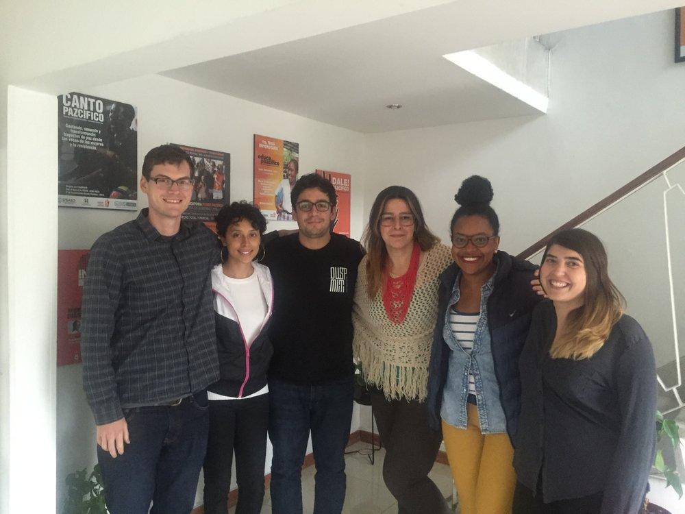 Meeting with Community Partner - Corporación Manos Visibles. From left to right: David Tisel, Tatianna Echevarria, Juan Constain, Ana María Blandón, Natalia Mosquera, Carey Dunfey