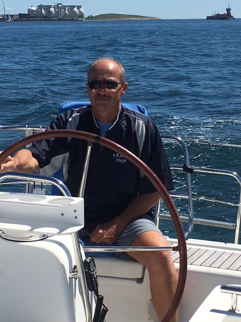 Captain Claude at the helm