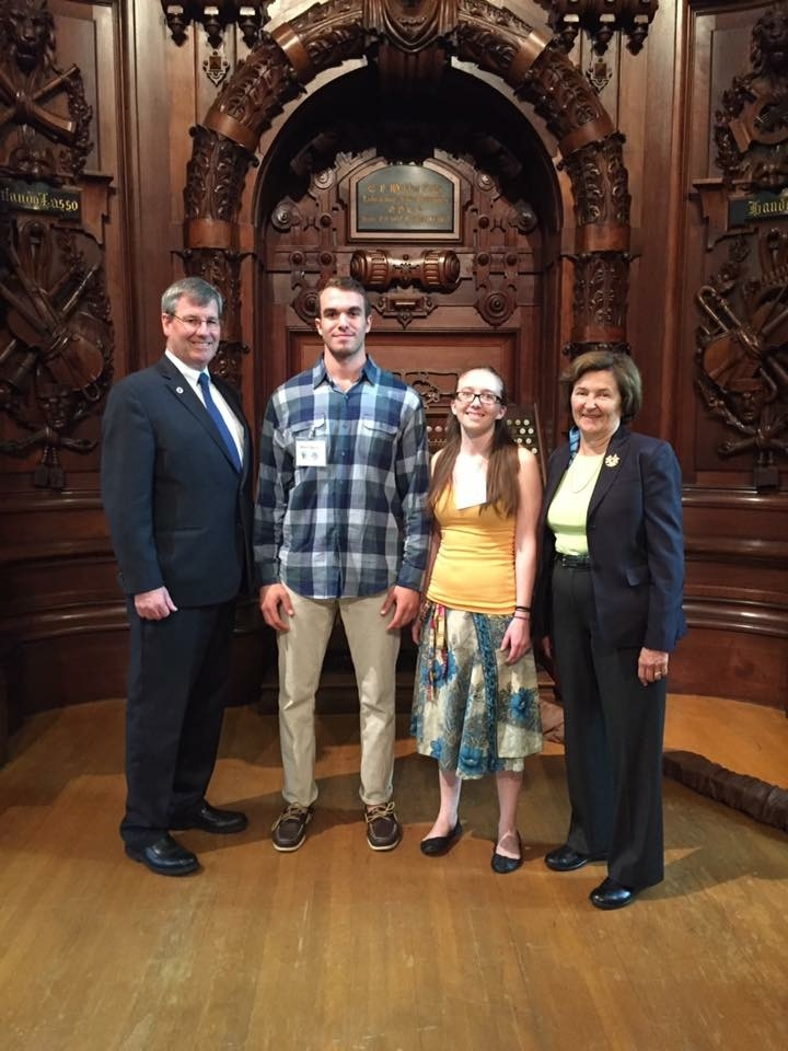 Intern Mark and Seaside Director Emily (middle left & right) receive an Essex Heritage Foundation grant at an award ceremony in Methuen, MA this past spring 2017