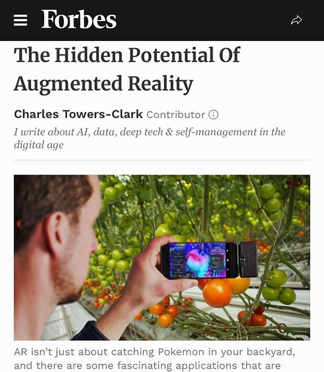 """Based at @uniwageningen, the project is currently focused on making tools for plant scientists in the Netherlands. With expansion planned in 2019, Hooks intends to 'bring multi-million dollar Digital Phenotyping into our pockets' thanks to high-powered GPUs and Machine Learning capabilities inside the latest smartphones. 'It's not AR for AR's sake, it's a hands-free system for understanding plants via AI,' says Hooks: 'I see augmentation as a bridge to automation, as it will take about 10-20 years for robots to be affordable in many plant sectors - instead of a million dollar robot you could have 50+ augmented growers.' -@Forbes ^ Link in Bio."